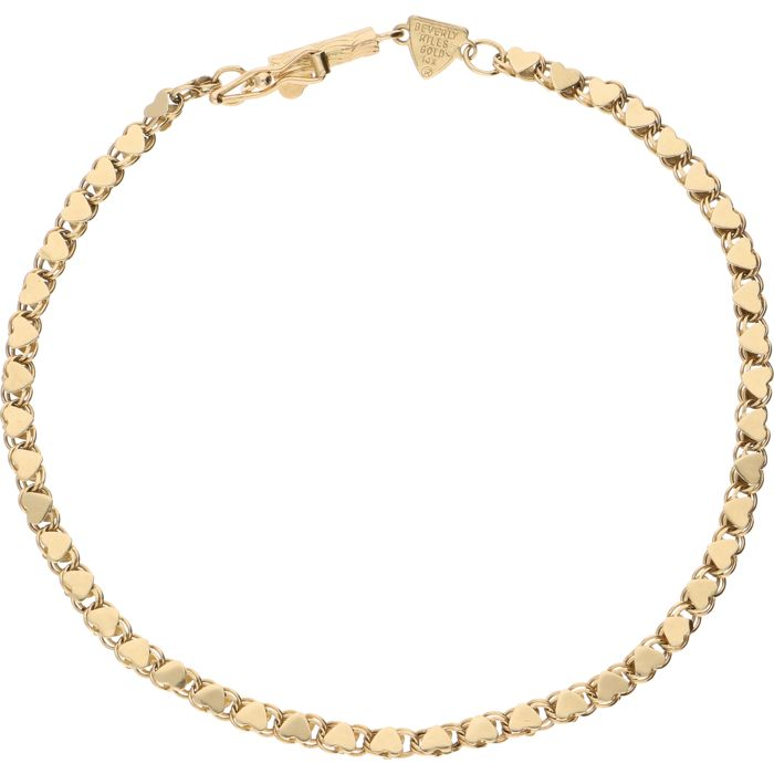14 kt - Yellow gold bracelet by Beverly Hills with double links in the shape of hearts, fitted with a box clasp with safety catch - Length: 18.2 cm