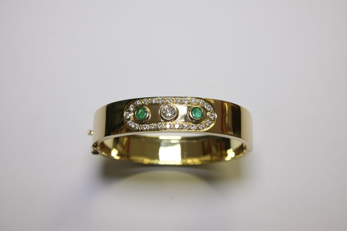 Gold bracelet with emeralds and round cut diamonds - 18kt yellow gold - 25 round-cut Diamonds - Size 17 cm