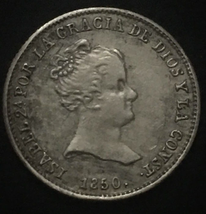 Spain - Isabel II - 1 silver real - Mint of Seville - RD - 1850 - Variant with bust - Rare