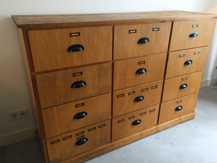 Large Wooden Laboratory drawers, 1.7 metres width