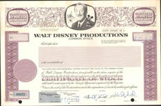 WALT DISNEY Productions - unissued stock certificate