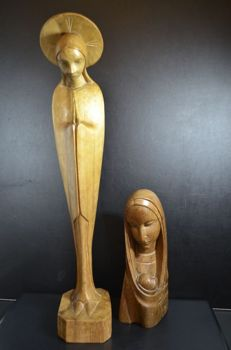 Religious - 2 wooden Mary and Madonna figurines - Belgium - second half 20th century
