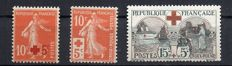 France 1914/18 – For the profit of the Red Cross signed Calves – Yvert no. 146, 147, 156.