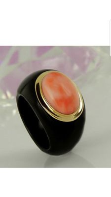 Designer ring – coral in agate – 19 mm