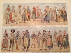 5 Prints - lithography - traditional costumes / costumes