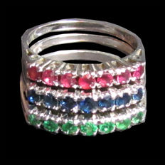 Set of 3 rings made of 14 kt white gold with ruby, sapphire and emerald - size 55