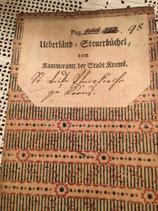 Tax book of the city Krems dating back to 1791