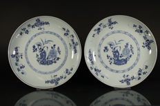 Two large blue-white dishes - China - 18th century