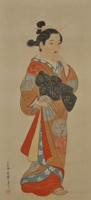 Standing Beauty - signed 'Keisen' - Japan - Early 20th century