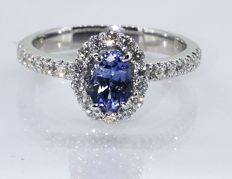 Diamond ring with exclusive sapphire of 0.55 ct & 30 diamonds, 0.50 ct in total