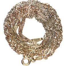 14kt - yellow gold twisted gourmet link necklace - Length: 42 cm