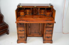 Teak writing desk with three drawers in each block, and between them a door with shelving, a beautiful interior - England - 2nd half of 20th century