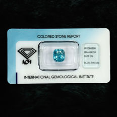 Intense blue zircon - 6.20 ct