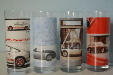 Very rare original Porsche 911 drink glasses 988 911 Targa, 1964 911 911, 1993 911 Carrera , 1974 911 Carrera Rs 2,7