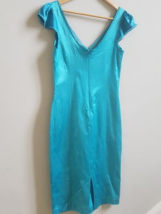 DOLCE & GABBANA TURQUOISE SATIN BUTTERFLY SLEEVE fitted DRESS