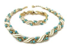 Signed CROWN TRIFARI - circa 1955, A. PHILIPPE - Demi Parure - Necklace & bracelet