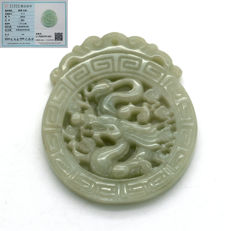 Type A green jade pendant engraved with dragon. No Reserve Price. Comes with certificate