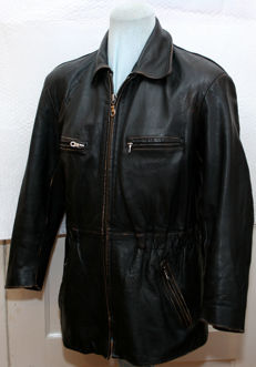 Beautiful long leather jacket - 3/4 motorcycle jacket - classic car/convertible
