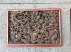 Two Chinese wooden panels - China - late 20th century
