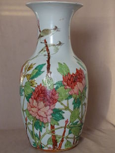 A Large Decoration Vase With Characters 45,5 cm - China - 19th Century
