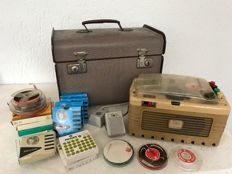 Vintage Geloso G 255 SP tape recorder & microphone, various tapes and case