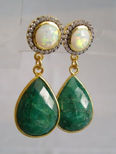 Earring with large natural emerald droplets 16ct in total and opal with topaz entourage