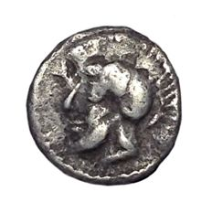 The Greek Antiquity - Sicily, Himera (ca. 479-409 BC) - AR Litra (9mm; 0,34g.) - Head / Pair of greaves - SNG Ashmolean 1769; HGC 2, 445 - Rare