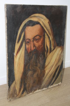 Antique religious painting - draped biblical character - late 18th or early 19th century