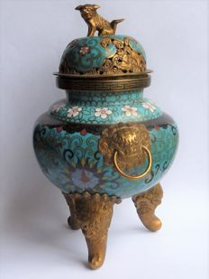 Three legged cloisonne Koro - China - early 20th century