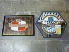 Lot of two mirror frames - Image of Kronenbourg beer and Hoegaarden beer -  20th century