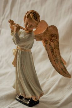 Antique Style Wooden Sculpture - Musical Holy Angel - Germany - 1950 -1960 vintage