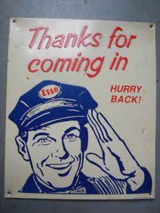 "blikken bord ESSO ""Thanks for coming in"" - 1980"