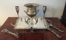 Silver-plated pair of casserole dishes for serving , vintage champagne holder , 2 champagne glasses & Salad Tongs.