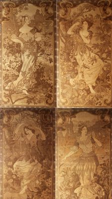 "Art Nouveau - ""Allegorie du printemps""- four original tapestries"