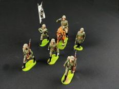 Elastolin, Germany - Scale 1/26 - Lot with 6 Plastic German Soldiers WWII, 1960/70s