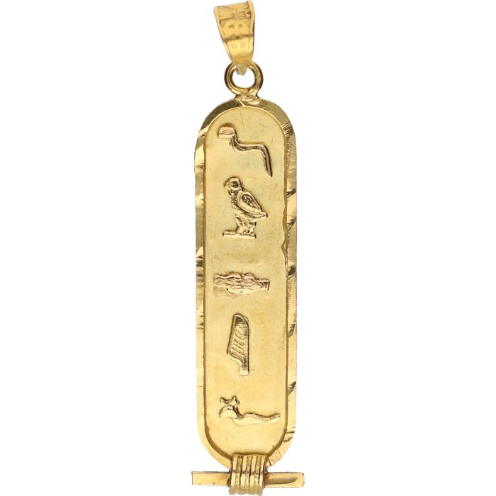 18 kt – Yellow gold Egyptian pendant – Length x width: 4.4 x 1 cm
