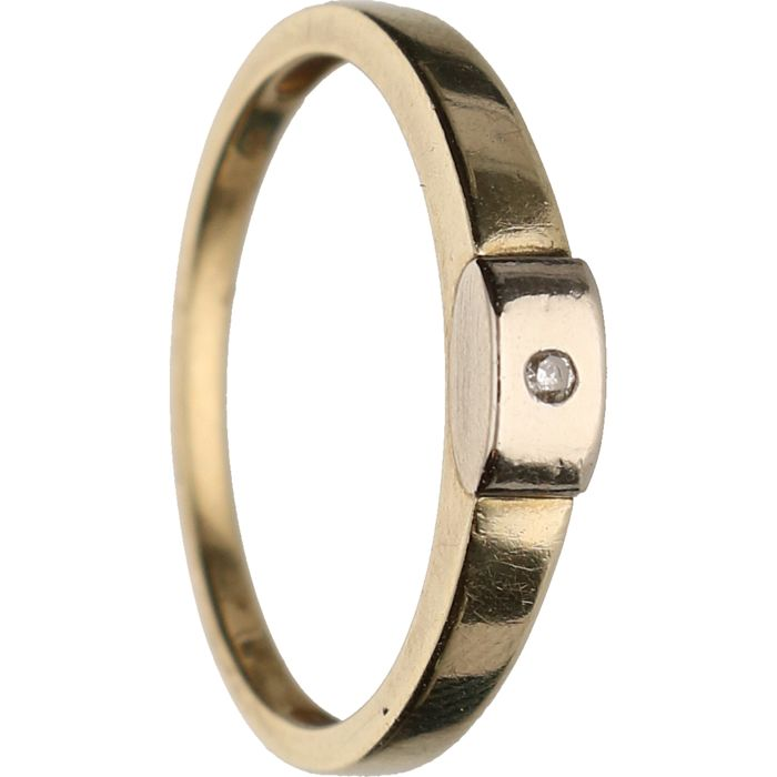 14 kt - Yellow gold ring set with 1 brilliant cut diamond of approx. 0.01 ct in total in a white gold midpiece - Ring size: 18.25 mm