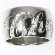 Chopard - Vintage Chopard ring with 55 brilliants anno 1980 - 18k white gold - Ring size: EU-53