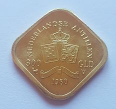 Netherlands Antilles – 300 gulden, 1980 Juliana – gold