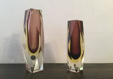 Murano - Pair of vintage sommerso block vazen