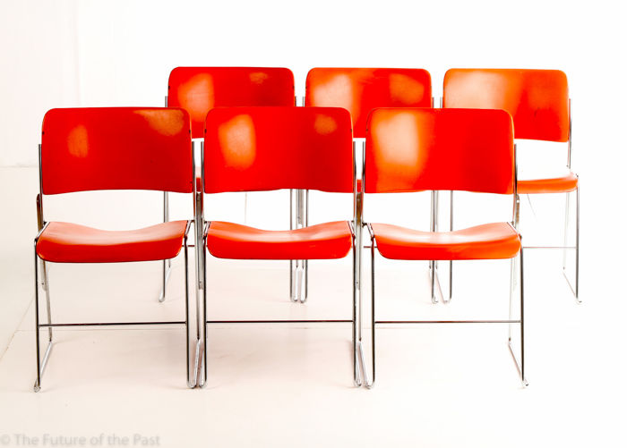 David Rowland For Howe U2013 6 Very Original Metal U002740/4u0027 Stackable Wire Mesh  Chairs In Orange.