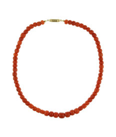 Antique blood coral necklace with ascending beads and a 14 kt gold clasp - 45 cm