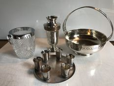 Set of table objects in silver and crystal - France