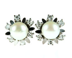 14 kt white gold stud earrings with 6 mm Akoya pearls and rosette of diamonds 0.24 ct