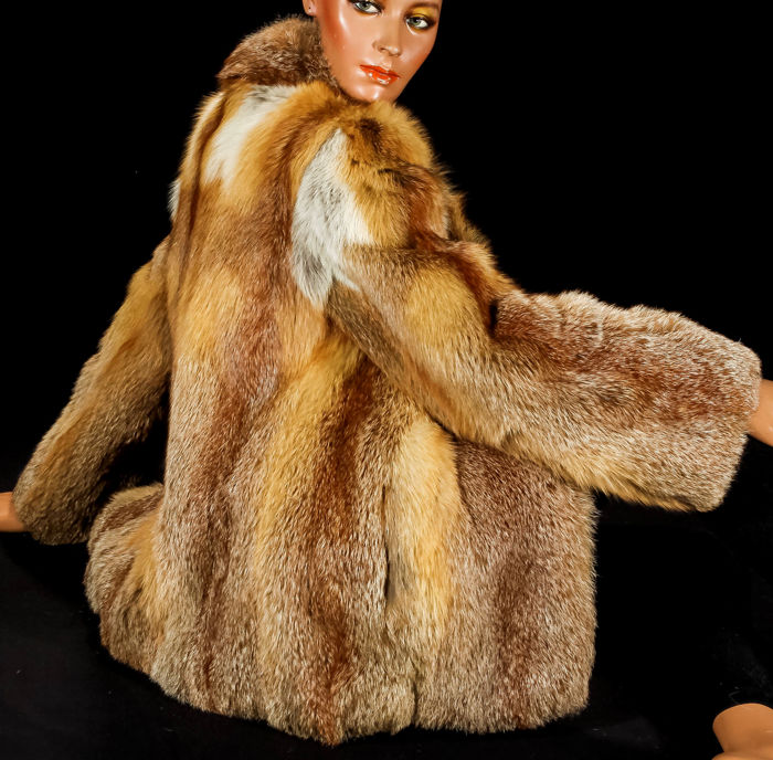 Boho genuine red fox fur fur jacket fox rare soft cuddly