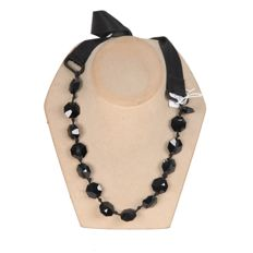 Lanvin - Black Satin Ribbon & Faceted Glass Beads Necklace