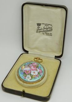 French spindle pocket watch with beautiful enamel flower case and Box ca 1840