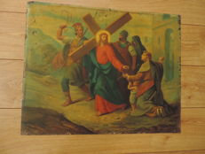 Large figurative image of Christ under the cross, on metal, approximately 1850, origin France