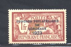 "France 1923 - ""Congres Philatelique de Bordeaux"" - Yvert no. 182"
