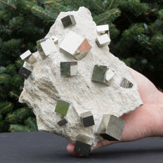 Cubic Pyrite crystals on matrix - 23 x 18 x 9 cm - 2708 g